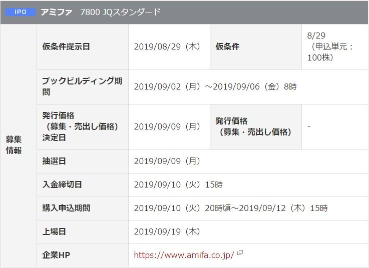 アミファ(7800)IPO岡三オンライン証券