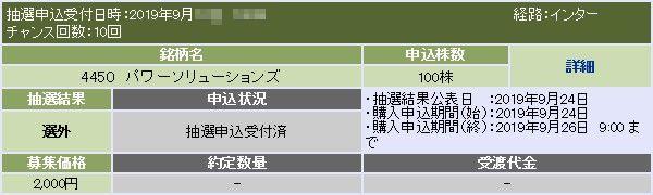 パワーソリューションズ(4450)IPO落選