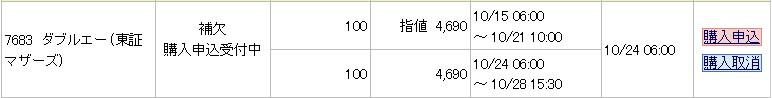 ダブルエー(7683)IPO補欠当選みずほ証券