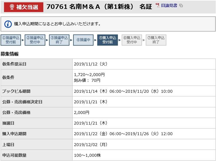 名南M&A(7076)IPO補欠当選