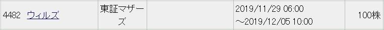 ウィルズ(4482)IPOみずほ証券