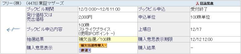 フリー(4478)IPO補欠当選
