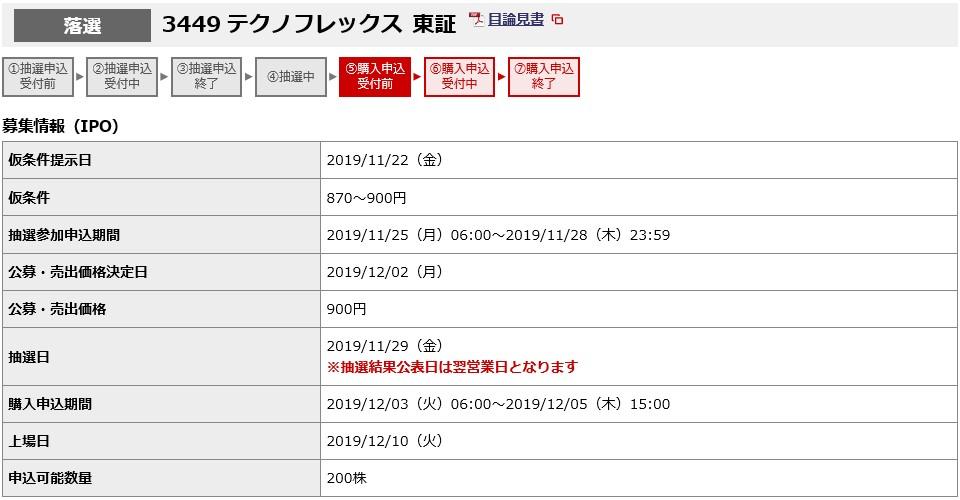 テクノフレックス(3449)IPO落選