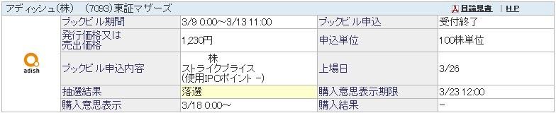 アディッシュ(7093)IPO落選