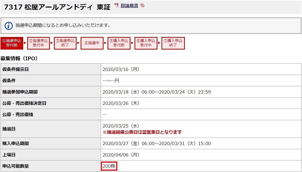 松屋アールアンドディ(7317)IPO野村證券