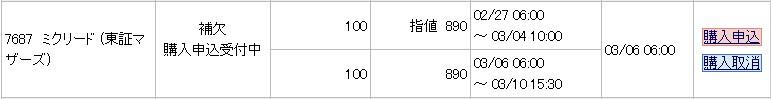 ミクリード(7687)IPO補欠当選