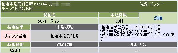 ヴィス(5071)IPOチャンス当選