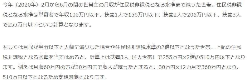 一世帯あたり30万円現金給付