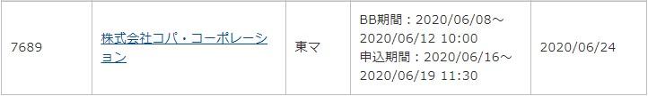 コパ・コーポレーション(7689)IPOauカブコム証券