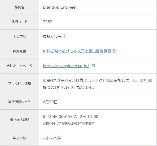 Branding Engineer(7352)IPOSBIネオモバイル証券(ネオモバ)