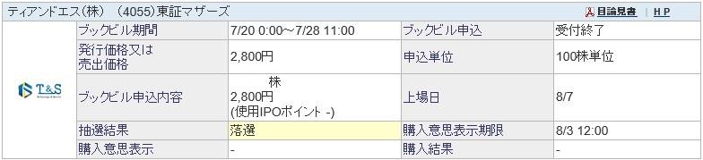 ティアンドエス(4055)IPO落選SBI証券