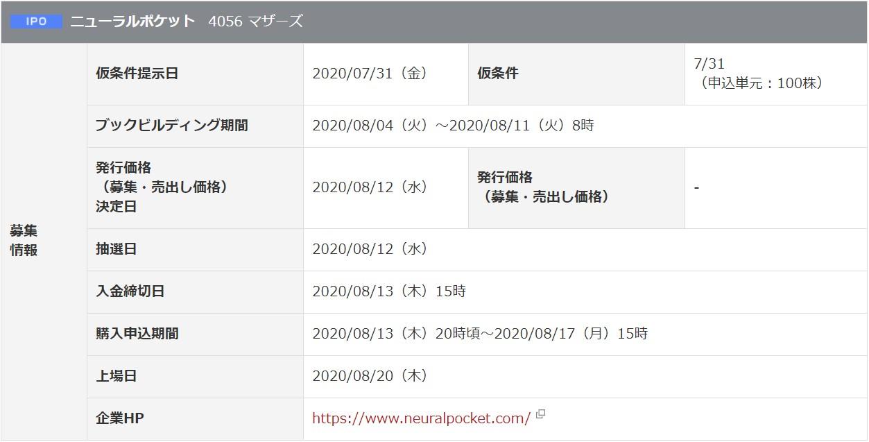ニューラルポケット(4056)IPO岡三オンライン証券