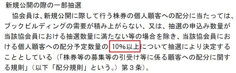 日本証券業協会IPO配分ルール