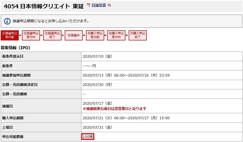 日本情報クリエイト(4054)IPO野村配分