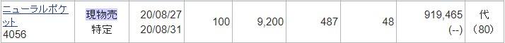 ニューラルポケット(4056)IPOセカンダリ2020.8.27