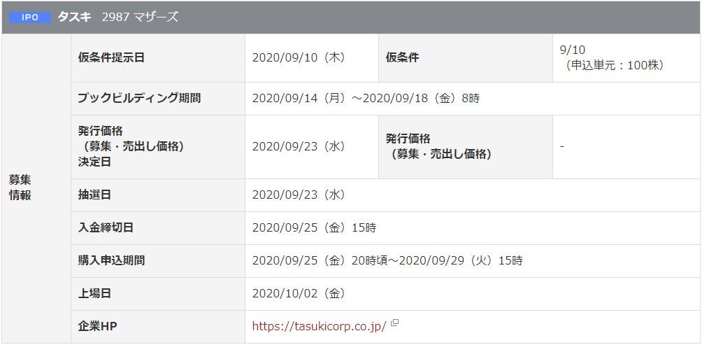 タスキ(2987)IPO岡三オンライン証券