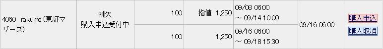 rakumo(4060)IPO補欠当選みずほ証券