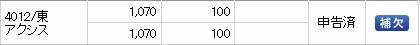 アクシス(4012)IPO補欠SMBC日興証券
