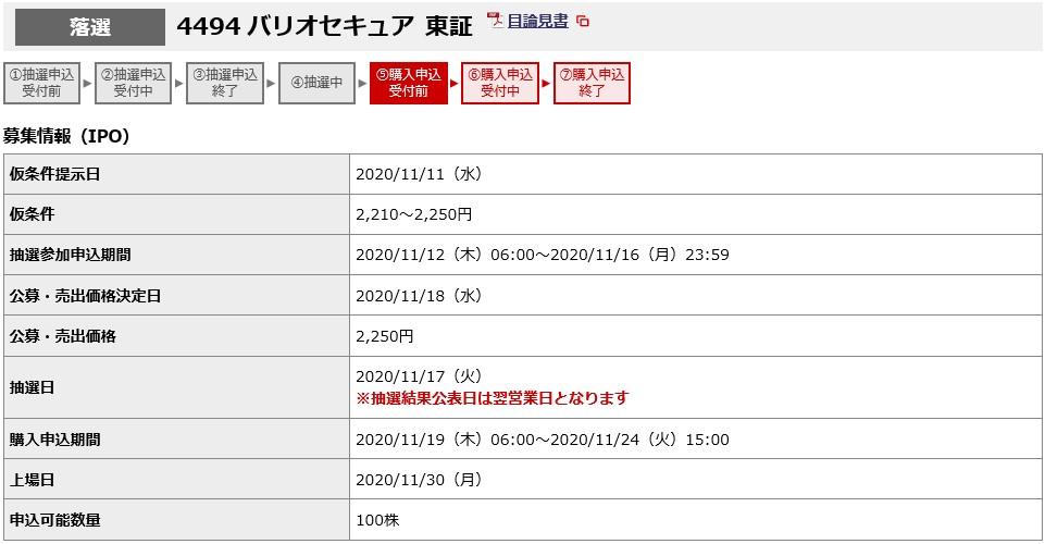 バリオセキュア(4494)IPO落選野村證券