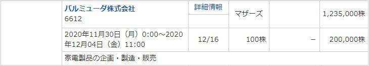 バルミューダ(6612)IPOマネックス証券
