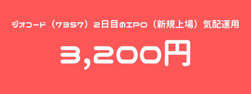 ジオコード(7357)2日目のIPO(新規上場)気配運用