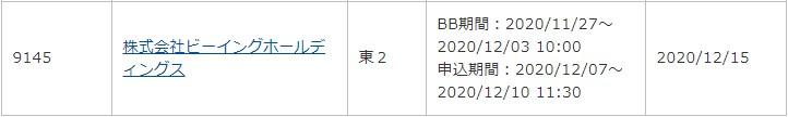 ビーイングホールディングス(9145)IPOauカブコム証券