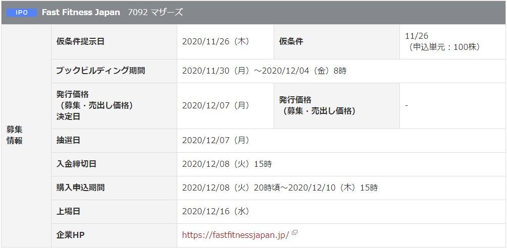 Fast Fitness Japan(7092)IPO岡三オンライン証券