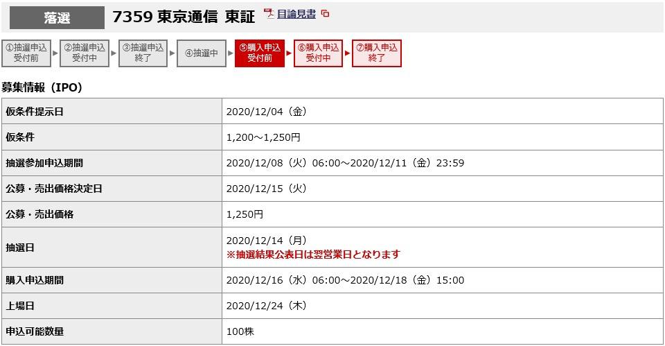東京通信(7359)IPO落選野村