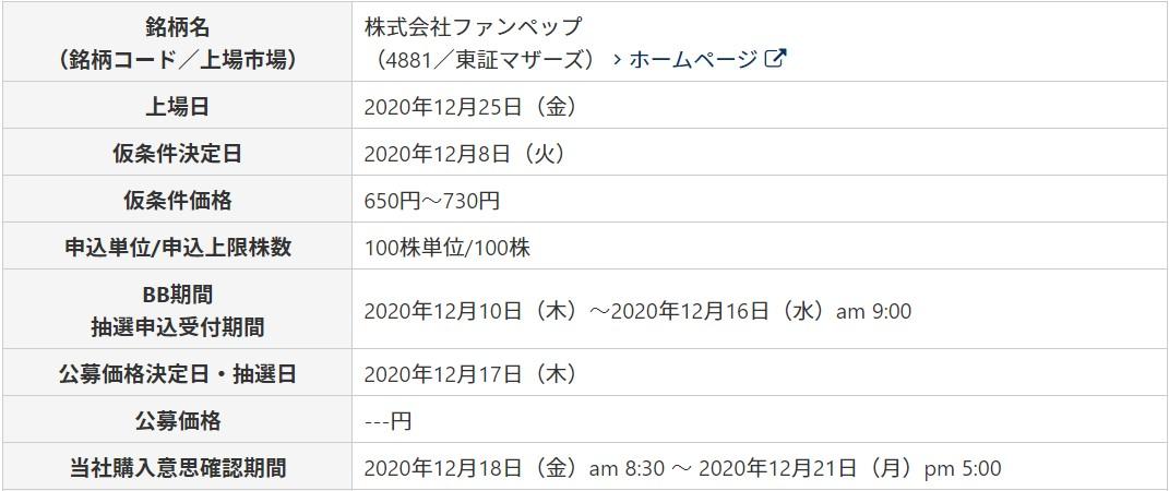 ファンペップ(4881)IPOライブスター証券