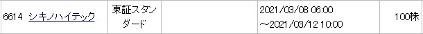 シキノハイテック(6614)IPOみずほ証券配分