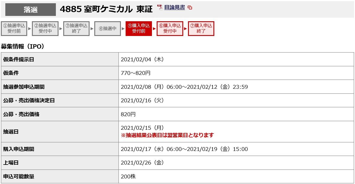 室町ケミカル(4885)IPO落選野村證券