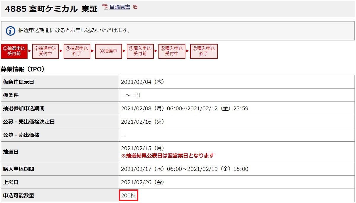 室町ケミカル(4885)IPO野村證券