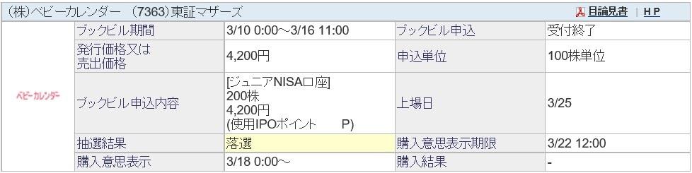 ベビーカレンダー(7363)IPO落選SBI