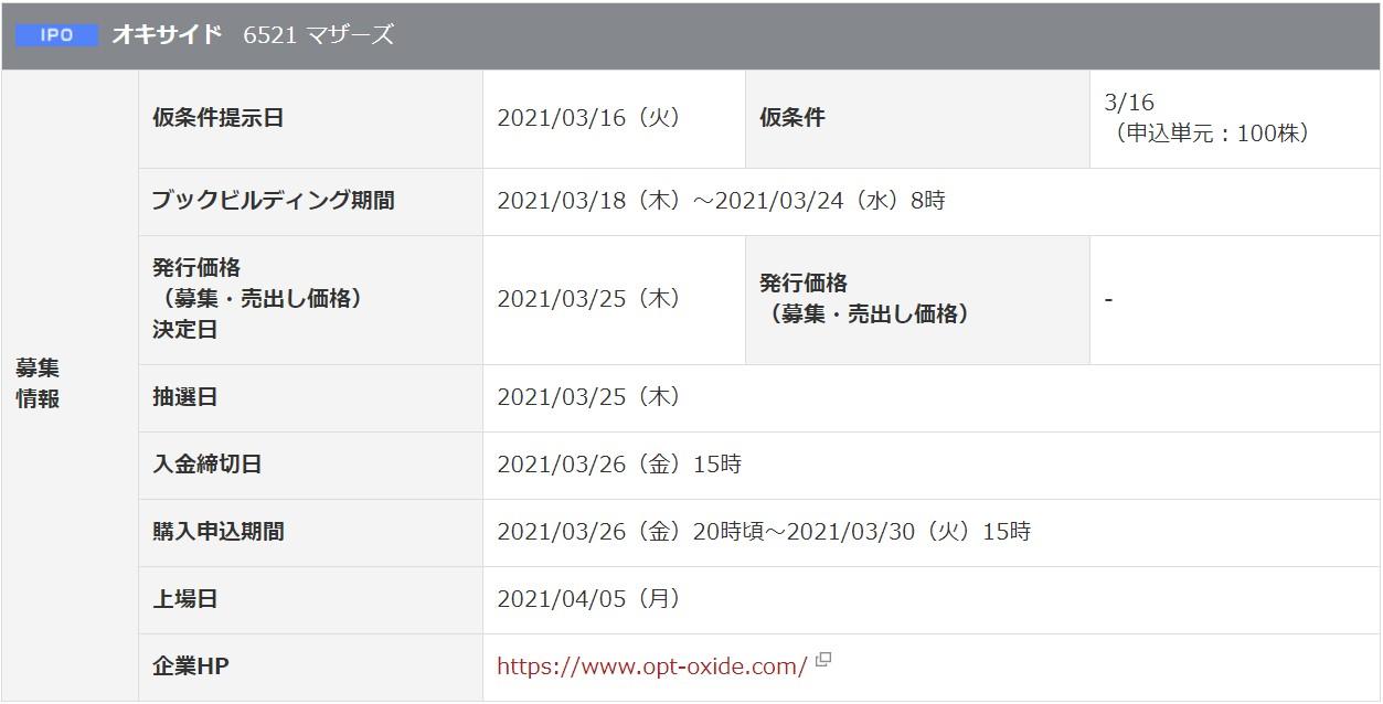 オキサイド(6521)IPO岡三オンライン証券