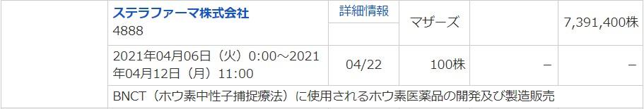 ステラファーマ(4888)IPOマネックス証券