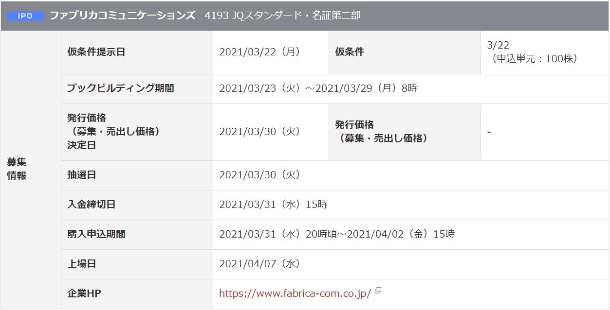 ファブリカコミュニケーションズ(4193)IPO岡三オンライン証券