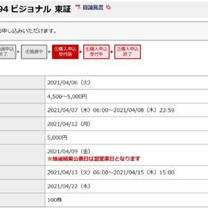 ビジョナル(4194)IPO補欠野村