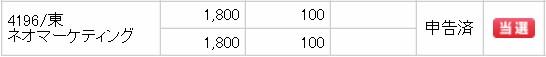 ネオマーケティング(4196)IPO当選SMBC日興証券