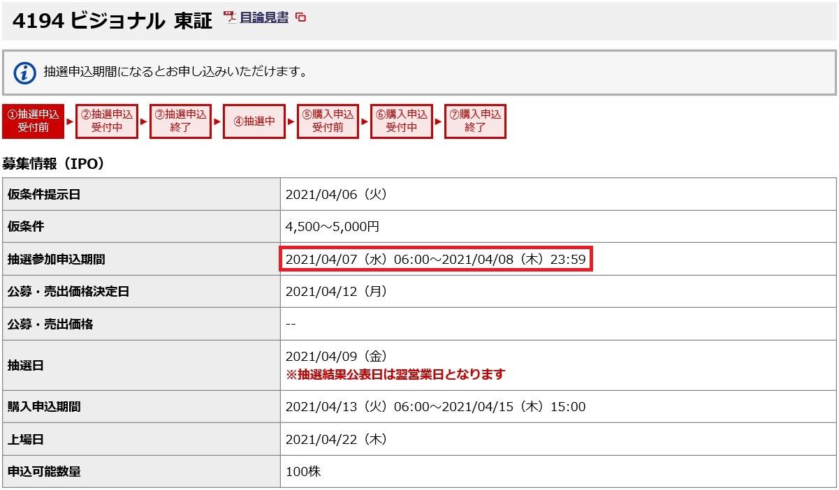 ビジョナル(4194)IPO申し込み期間