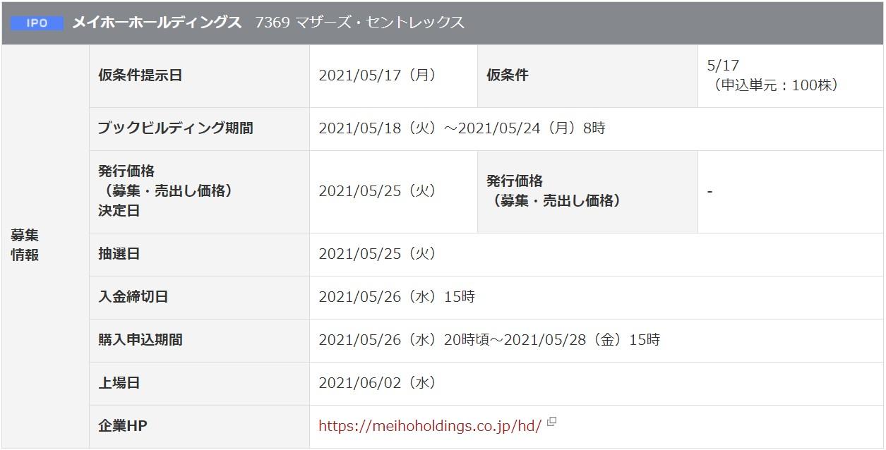 メイホーホールディングス(7369)IPO岡三オンライン証券