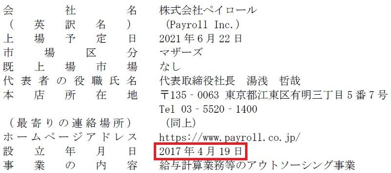 ペイロール(4489)IPO新規上場会社概要1