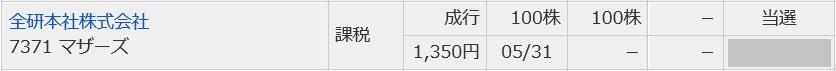 全研本社(7371)IPO当選マネックス証券