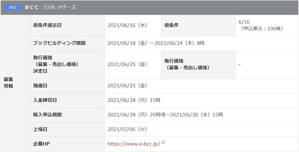 BCC(7376)IPO岡三オンライン証券