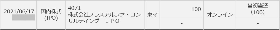 プラスアルファ・コンサルティング(4071)IPO当選三菱