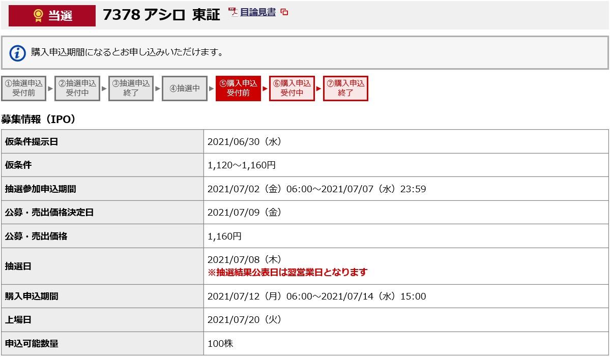 アシロ(7378)IPO当選野村證券