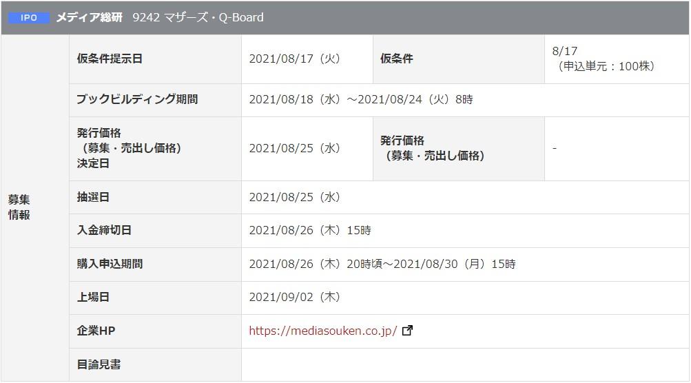 メディア総研(9242)IPO岡三オンライン証券