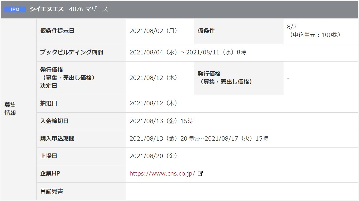 シイエヌエス(4076)IPO岡三オンライン証券