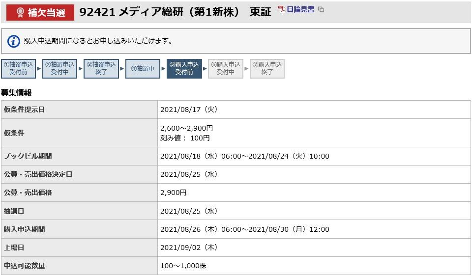 メディア総研(9242)IPO補欠当選東海東京証券