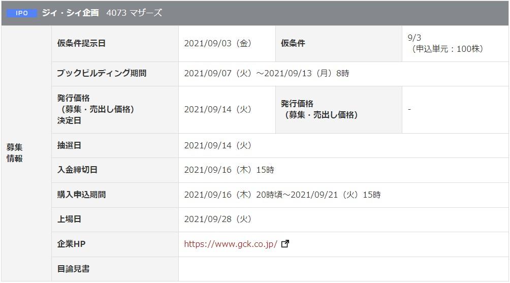 ジィ・シィ企画(4073)IPO2岡三オンライン証券