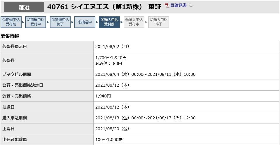 シイエヌエス(4076)IPO落選東海東京証券